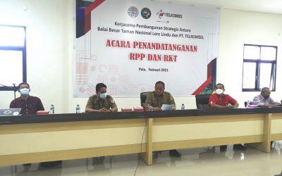 Penandatangan RPP RKT Perjanjian Kerjasama Pembangunan Strategis yang Tidak Dapat Dielakkan antara BBTNLL dan PT. Telkomsel
